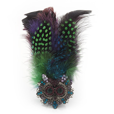 Oversized Green/Purple Feather 'Owl' Stretch Ring In Black Metal - Adjustable - 11cm Length