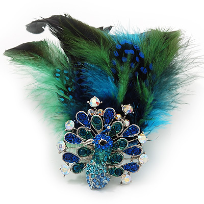 Oversized Green/Teal/Blue Feather 'Peacock' Stretch Ring In Silver Plating - Adjustable - 15cm Length