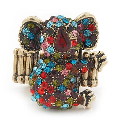 Swarovski Encrusted Koala Cocktail Stretch Ring In Burn Gold Finish (Multicoloured Crystals) - Adjustable size 7/8