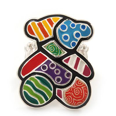 Multicoloured Enamel 'Ted' Stretch Ring In Rhodium Plating - Adjustable