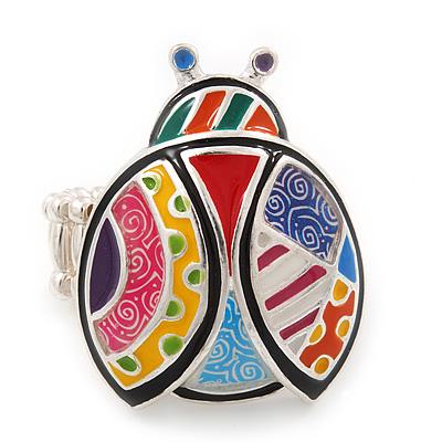 Multicoloured Enamel 'Lady Bug' Stretch Ring In Rhodium Plating - Adjustable