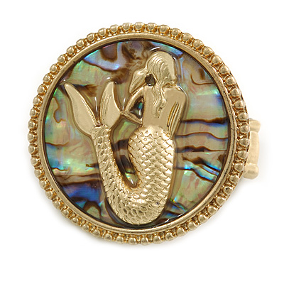 Large Gold Plated 'Mermaid' Flex Ring - 4cm Diameter