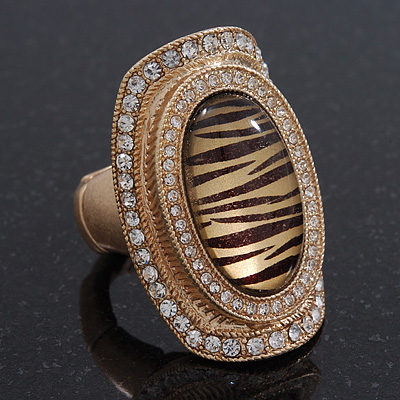 Large Oval Diamante Animal Print Flex Ring In Brushed Gold Metal - 3.7cm Length - Adjustable - main view