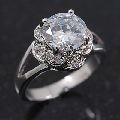 Rhodium Plated Split Shank Round Cut CZ Crystal 'Meret' Solitaire Ring - 8mm length