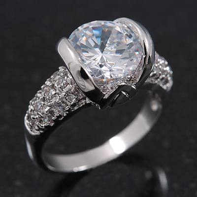 Rhodium Plated Semi-Bezel Set CZ Crystal 'Imentet' Solitaire Ring - Round cut stone 8mm length