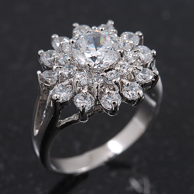Rhodium Plated Floral CZ Crystal 'Maat' Solitaire Ring - 15mm Diameter - main view