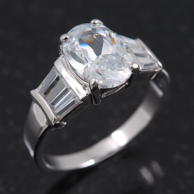 Rhodium Plated Oval Cut CZ Crystal 'Isis' Solitaire Ring - 10mm length - main view