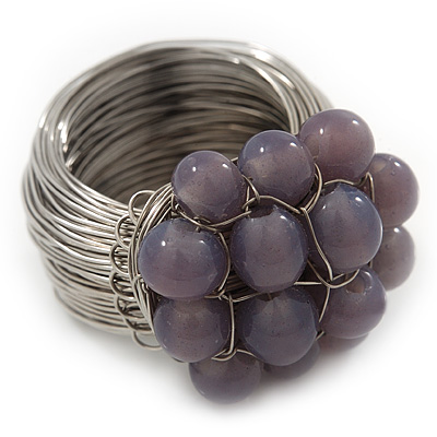 Wide Rhodium Plated Wire Pastel Violet Glass Bead Band Ring