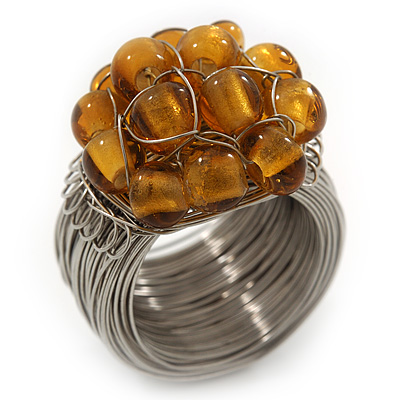 Wide Rhodium Plated Wire Simulated Pearl Gold Glass Bead Band Ring