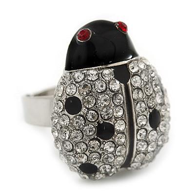 Rhodium Plated Swarovski Crystal and Enamel 'Catarina' Lady Bug Ring (Adjustable) - Size7/8