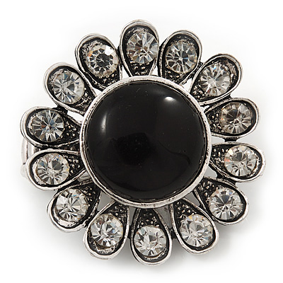 'Diva Blossom' Crystal and Ceramic Flower Ring (Silver Tone) - Adjustable size 7/8