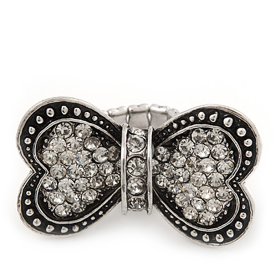 'Opposites Attract' Swarovski Encrusted Heart Bow Cocktail Stretch Ring - Rhodium Plated (Clear Crystals) - Adjustable size 7/8