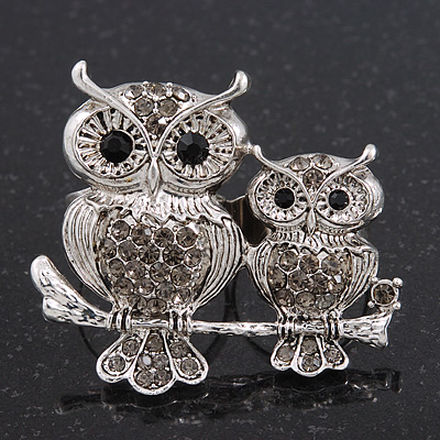 Silver Plated Light Grey Crystal 'Double Owl' Double Finger Ring - Adjustbable - 4.5cm Length - main view