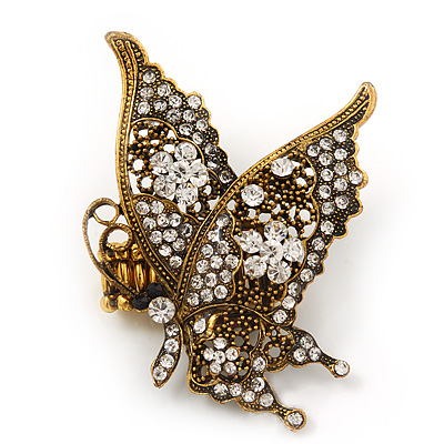 'La Mariposa' Swarovski Encrusted Butterfly Cocktail Stretch Ring In Burn Gold Finish (Clear Crystals) - Adjustable size 7/8 - main view
