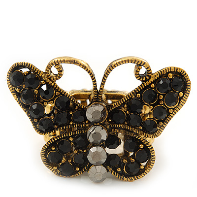 'Papillonne' Swarovski Encrusted Butterfly Cocktail Stretch Ring In Burn Gold Finish (Black Crystals) - Adjustable size 7/8 - main view