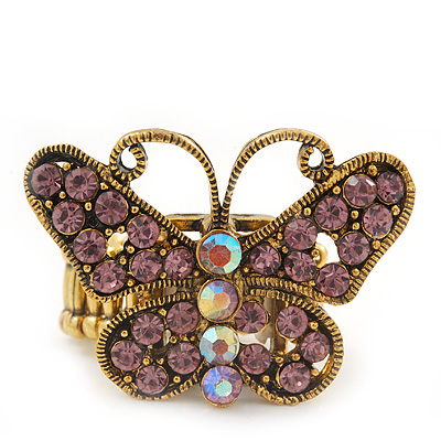 'Papillonne' Swarovski Encrusted Butterfly Cocktail Stretch Ring In Burn Gold Finish (Lilac Crystals) - Adjustable size 7/8 - main view