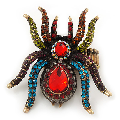 Oversized Multicoloured Crystal Spider Stretch Cocktail Ring In Antique Gold Plating - 6cm Length
