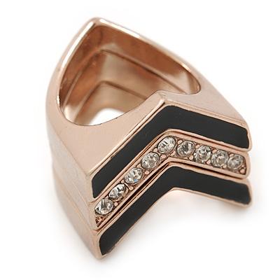 Set of 3 Geometric Black Enamel, Crystal  Stack Rings In Rose Gold Tone - Size 8