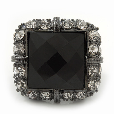 Faceted Black Glass Square Stone and Diamante Gun Metal Stretch Ring - 25mm Length - Expandable Size 7/8 - main view