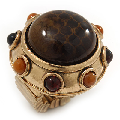 Chunky Dome Shape 'Snake Print' Resin Stone Flex Ring In Burn Gold Finish - 35mm Diameter - Size 8/10