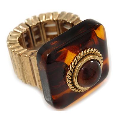 Square Resin 'Animal Print' Flex Ring In Burn Gold Metal - 25mm Across - Size 7/9 - main view
