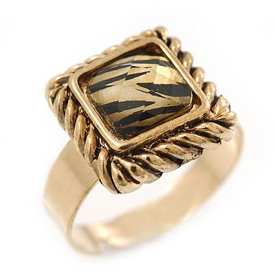 Vintage Square Animal Print Resin Ring In Burnt Gold - 13mm Width - Adjustable - Size 8/9