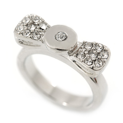 Rhodium Plated 'Cutie' Bow Ring with Clear Crystals - 2cm Length - Size 7