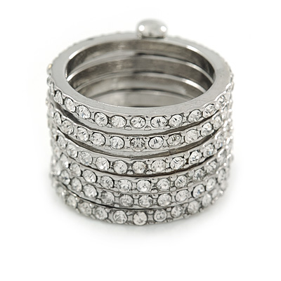 Silver Plated Clear Crystal Stacking/ Stackable Band Ring