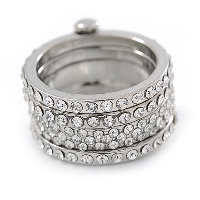 Statement Silver Tone Clear Crystal Stacking/ Stackable Band Ring