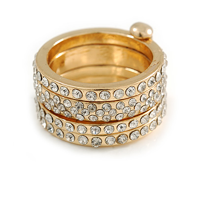 Gold Tone Clear Crystal Stacking/ Stackable Band Ring