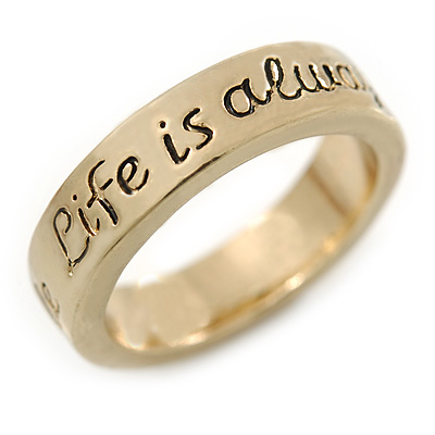 Gold Plated 'Life is always better with a smile' Engraved Ring - Size 8