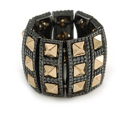 Two Tone 'Spiky' Wide Flex Band Ring (Gold/ Black Tone Metal) - 20mm Width - Size 7/8 - main view