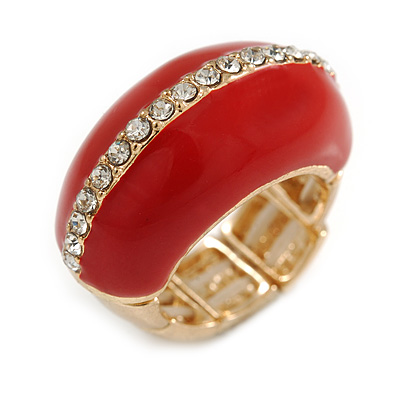 Red Enamel Dome Shaped Stretch Cocktail Ring In Gold Plating - 2cm Length - Size 7/8 - main view