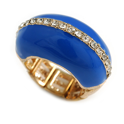 Blue Enamel Dome Shaped Stretch Cocktail Ring In Gold Plating - 2cm Length - Size 7/8 - main view