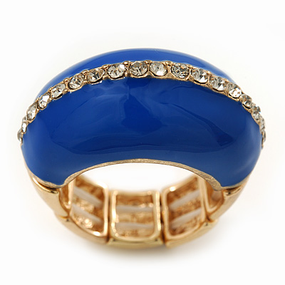 Blue Enamel Dome Shaped Stretch Cocktail Ring In Gold Plating - 2cm Length - Size 7/8