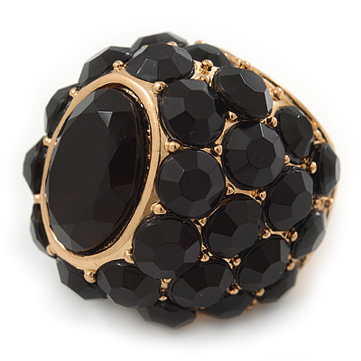 Statement Black Crystal Dome Shaped Cocktail Flex Ring Gold Tone - 30mm Across - Size 8