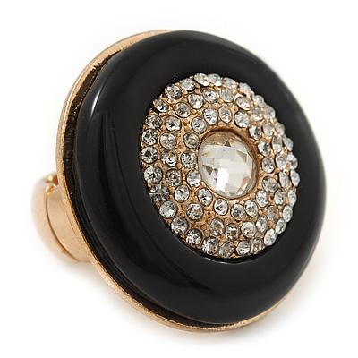 Large Black Enamel, Diamante 'Button' Flex Ring In Gold Plating - 35mm Diameter - Size 7/8 - main view