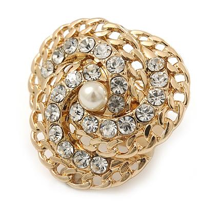 Clear Austrian Crystal Trinity Flex Ring In Gold Tone - 35mm Across - Size7/8