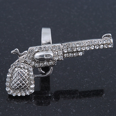 Silver Tone Clear Crystal Revolver Ring - 50mm Across - Size7/8