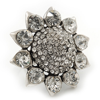 Rhodium Plated Diamante Sunflower Cocktail Ring - Size 7/8 Adjustable - main view