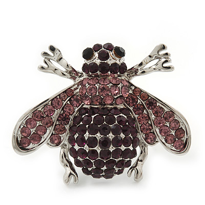 Rhodium Plated Swarovski Crystal Bumble Bee Cocktail Ring - Adjustable Size 8/9 (Violet and Purple) - main view