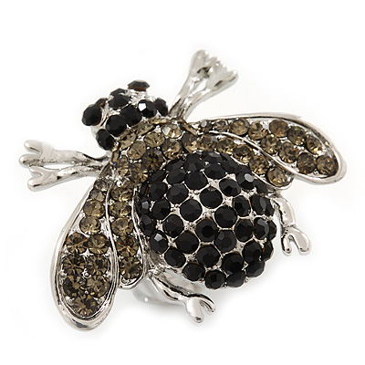 Rhodium Plated Swarovski Crystal Bumble Bee Cocktail Ring - Adjustable Size 8/9 (Grey and Black) - main view