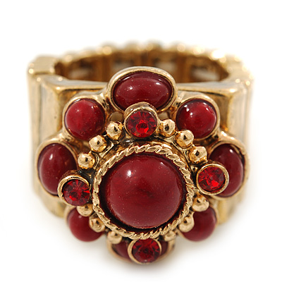 Vintage Burgundy Red Glass Stone, Crystal Floral Flex Ring In Burn Gold Finish - 20mm Diameter - Size 8/9 - main view