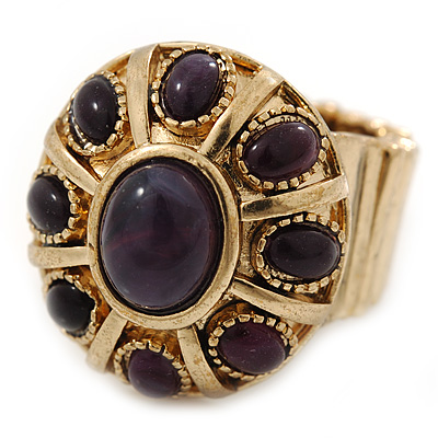Vintage Purple Glass Stone Oval Flex Ring In Burn Gold Finish - 25mm Length - Size 8/9 - main view