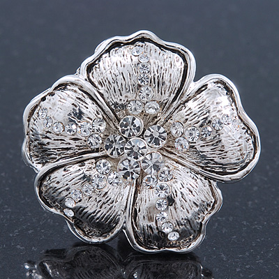 Large Crystal Textured 'Daisy' Ring In Burn Silver Metal - 40mm Diameter - Adjustable - Size 7/8