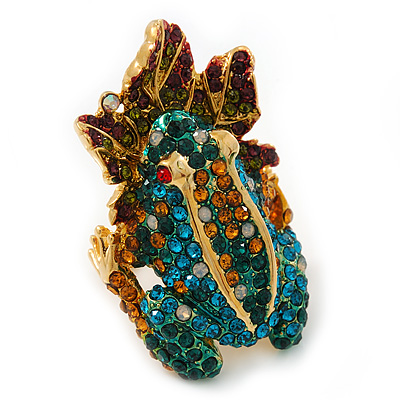 Sculptured Multi-tone Swarovski Crystal 'Frog on a Leaf' Ring - 4cm Length (Size 8)