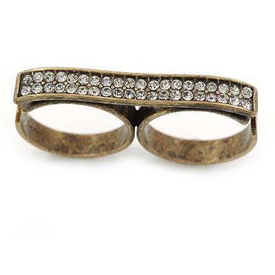 Vintage Pave-Set 'Plate' Two Finger Ring In Bronze Tone Metal - Adjustable - 35mm Width - main view