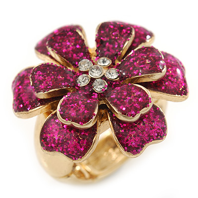 Glittering Magenta Sequin, Layered 'Flower' Stretch Cocktail Ring In Gold Plating - 30mm Diameter - Adjustable - Size 8/9
