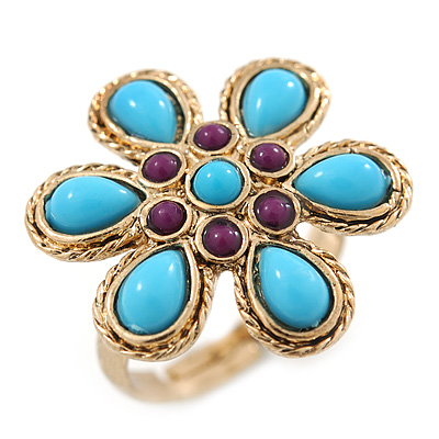 Delicate Purple, Turquoise Coloured Acrylic Bead 'Flower' In Gold Plaiting - 25mm Diameter - Adjustable - Size 7/8