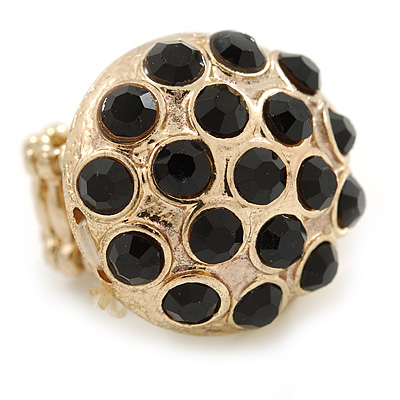 Dome Shape Black Crystal Flex Ring In Gold Plating - 25mm Across - Size 6/7